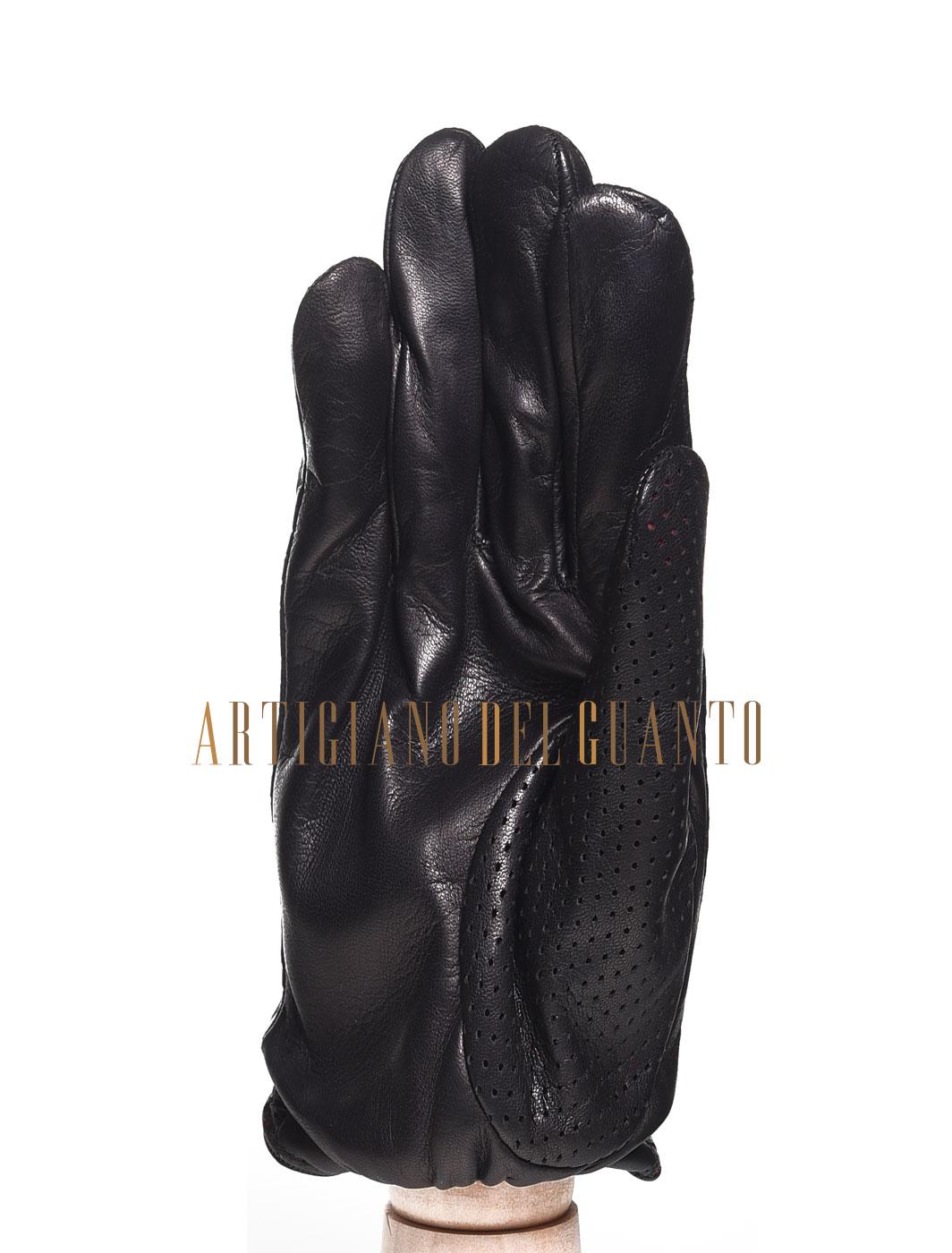 Guanto artigianale microforato in pelle di Agnello modello uomo