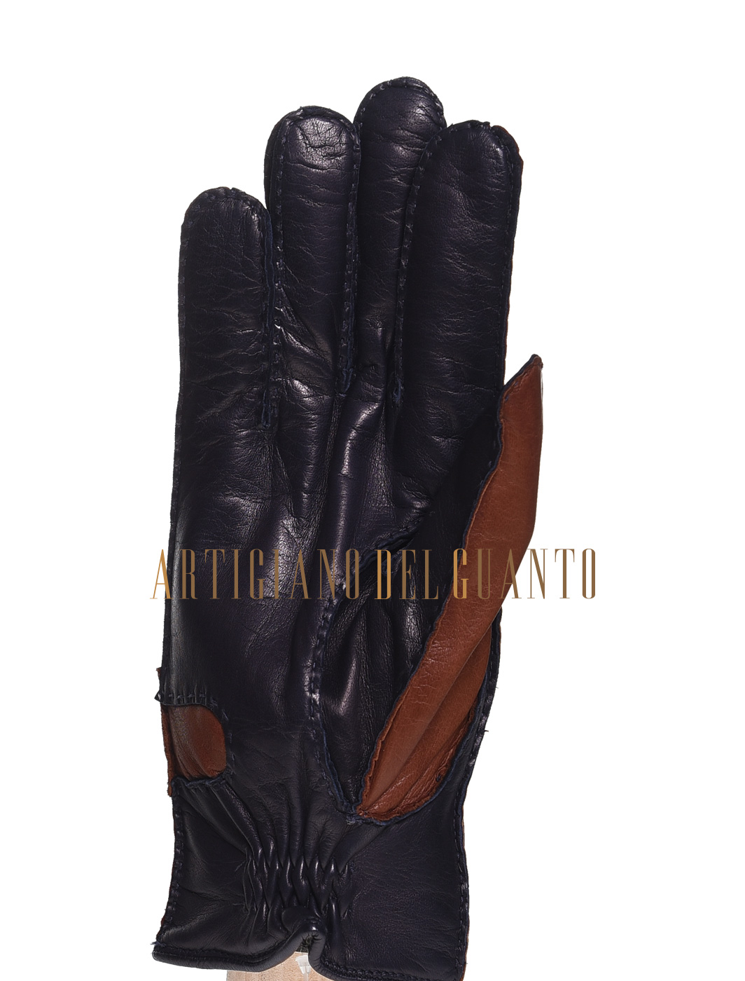 guanto bicolore in pelle di Agnello cucito a mano