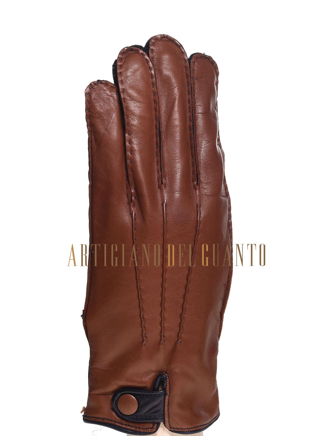 guanto bicolore in pelle di Agnello